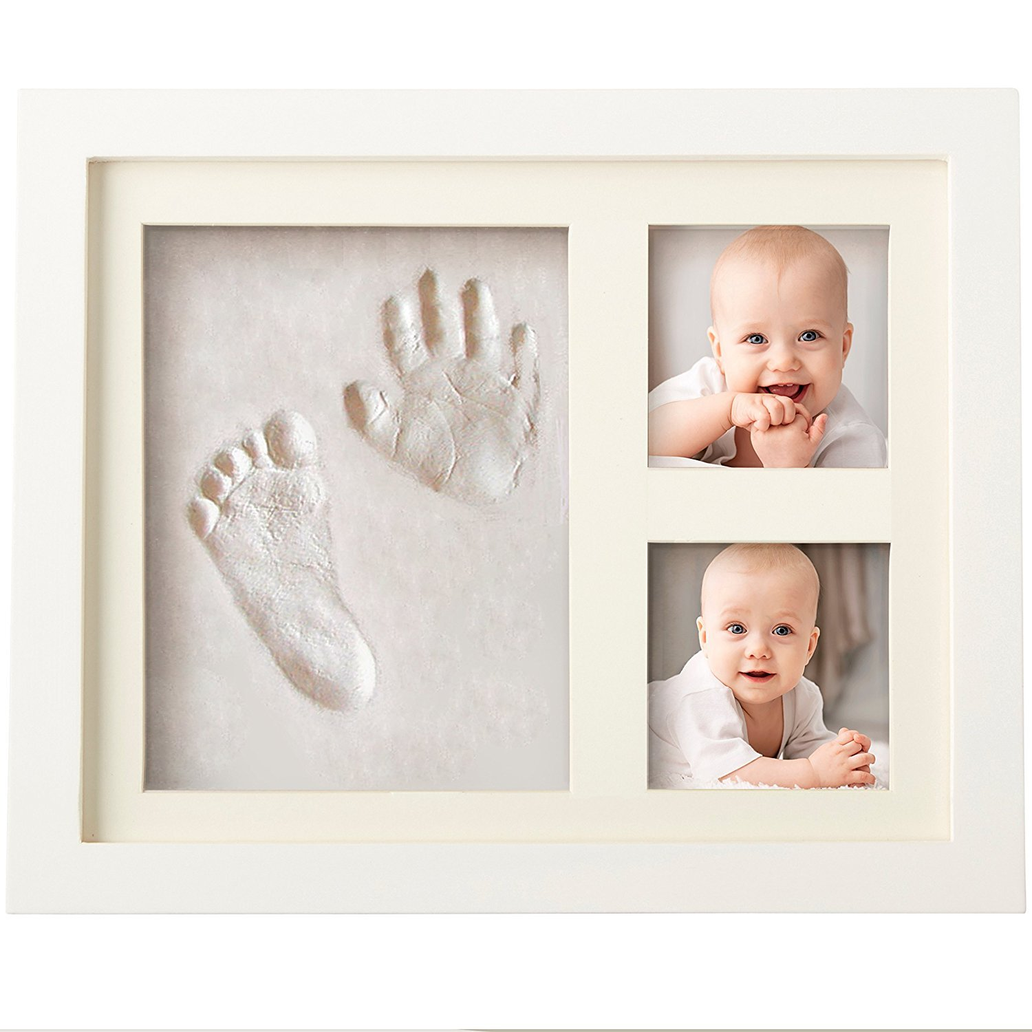 Veahma Baby Quality Clay Imprint Kit! White Wood Picture Frame|(Ivory) Mat|Non-Toxic Clay|Hand/Foot Print Kit|Neat Baby Shower Gift for New Born Baby, Boy, Girl, Pet, Parents! Newest No Mold Version!