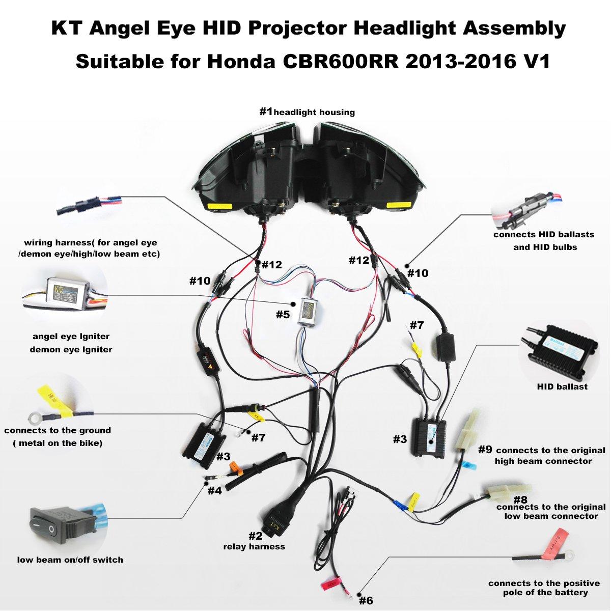Amazon.com: KT LED Angel Eye Headlight embly for Honda ... on