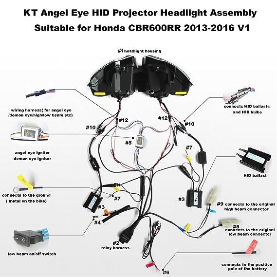 amazon com kt led angel eye headlight assembly for honda 2007 honda cbr 1000rr wiring-diagram honda cbr headlight relays wiring diagram #13
