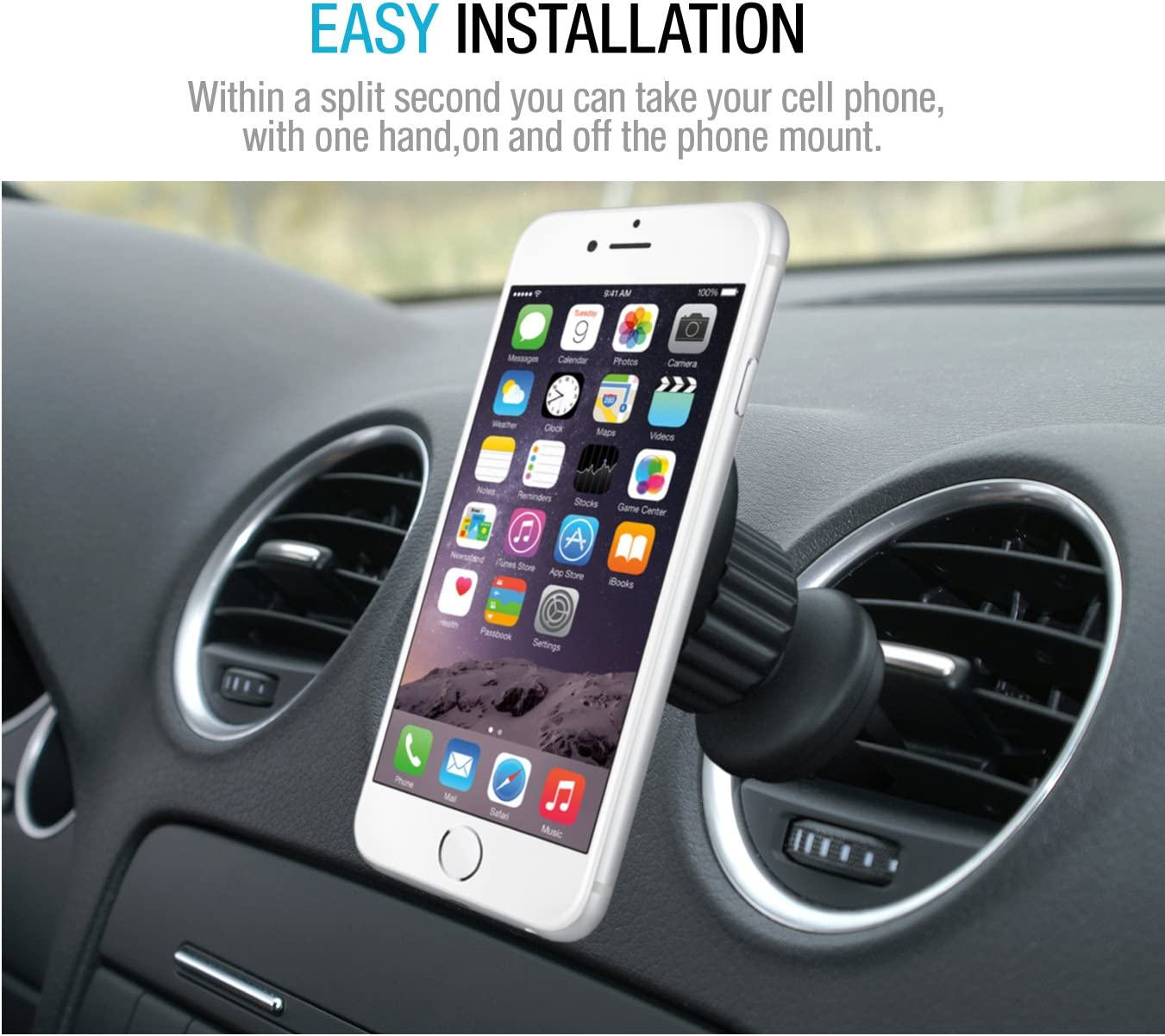 RV or Truck Compatible with iPhone with Extra Metal Plates in Easy-to-Open Package for Car Black Magnetic Car Air Vent Phone Mount