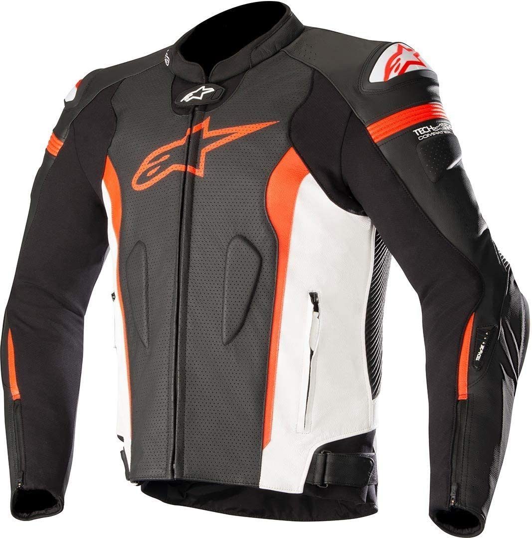 Alpinestars Chaqueta moto Missile Leather Jacket - Tech-air Compatible Black White Red Fluo Air, Negro/Blanco/Rojo, 50