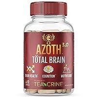 AZOTH 3.0 Total Brain Supplement - Support Peak Cognitive Performance - Optimize Brain Health & Clarity - Boost Energy & Motivation - Organic Lions Mane & Cordyceps Nootropic Mushrooms - (60 Pills)