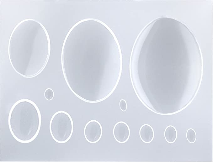 6Pc Set Of 18x25mm Oval Cameo Cabochon Dome Flexible Plastic Molds For Resin