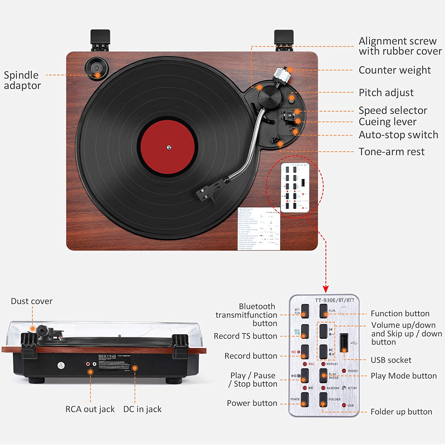 Record Player with Speakers Turntable for Vinyl Records Bluetooth Input /& Output USB Direct Vinyl to MP3 Recording Pitch /& Counterweight Adjustment 3 Speed Vintage Vinyl Record Player