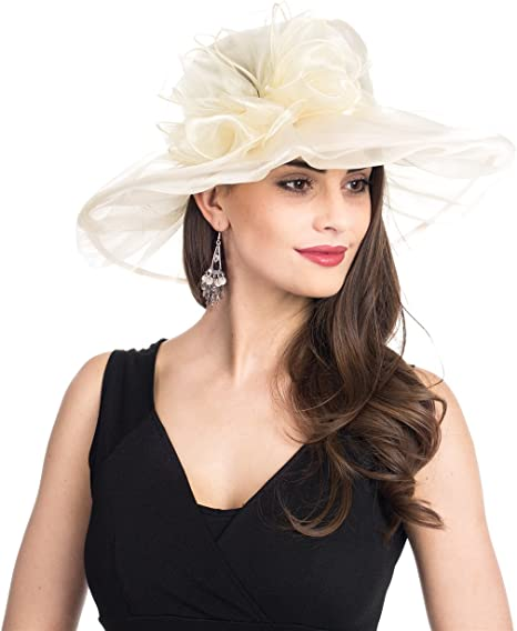 Sun Hats for Party Wedding Leaf Women Kentucky Derby Church Cap Wide Brim Summer