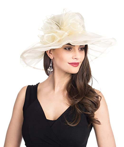 d827307c8183b Lucky Leaf Women Kentucky Derby Church Party Floral Brim Summer Wedding Hat  (1-Beige