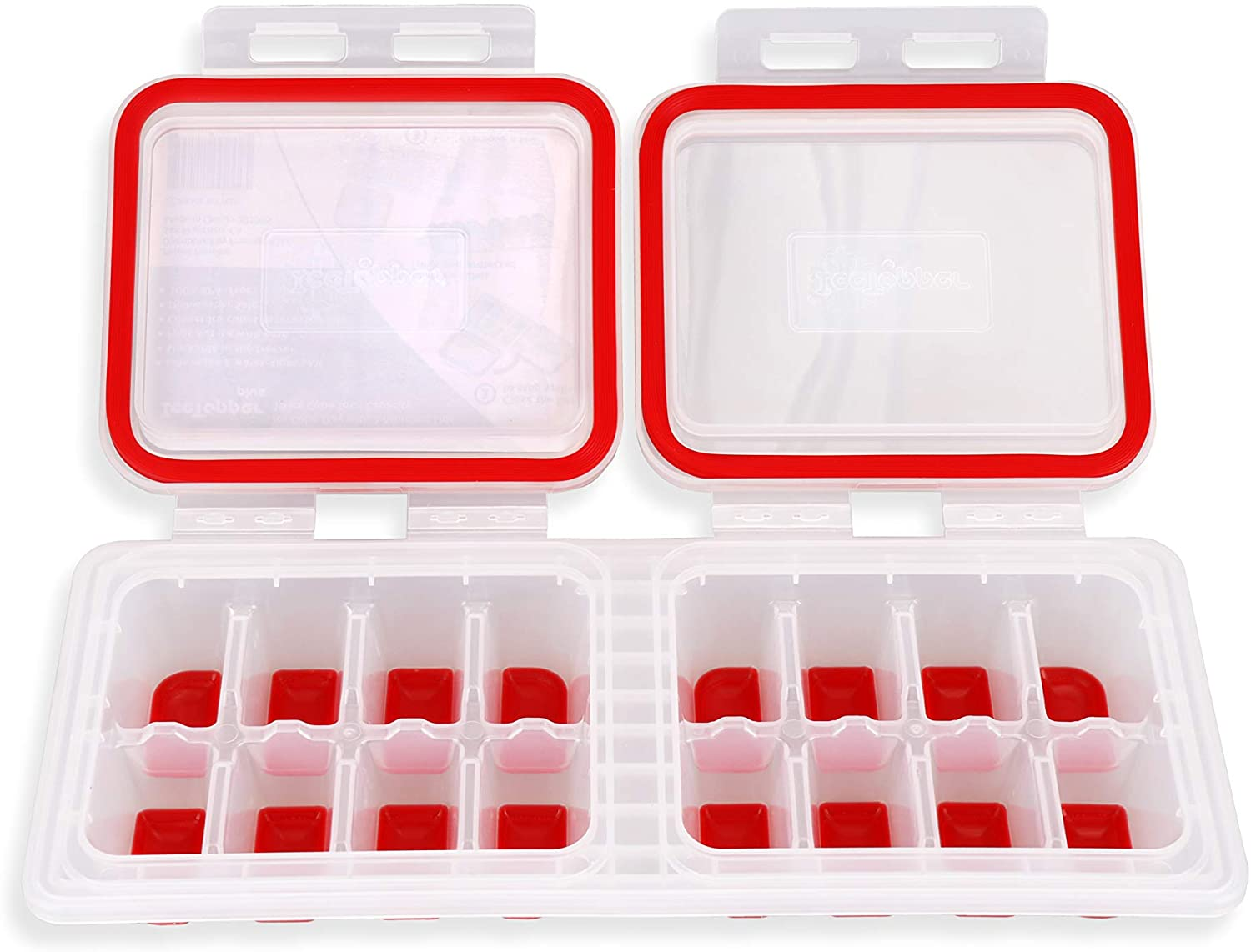IceTopper Plus Ice Cube Tray with 2 Attached Lids - Easy Release Ice Cube Molds, 16 Cubes per Tray, Stackable & Dishwasher Safe, 100% Food Grade Silicone, BPA Free & Recyclable