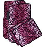 OxGord 4pc Set Auto Floor Mats for Car, Truck,Van, SUV- Pink Leopard Print