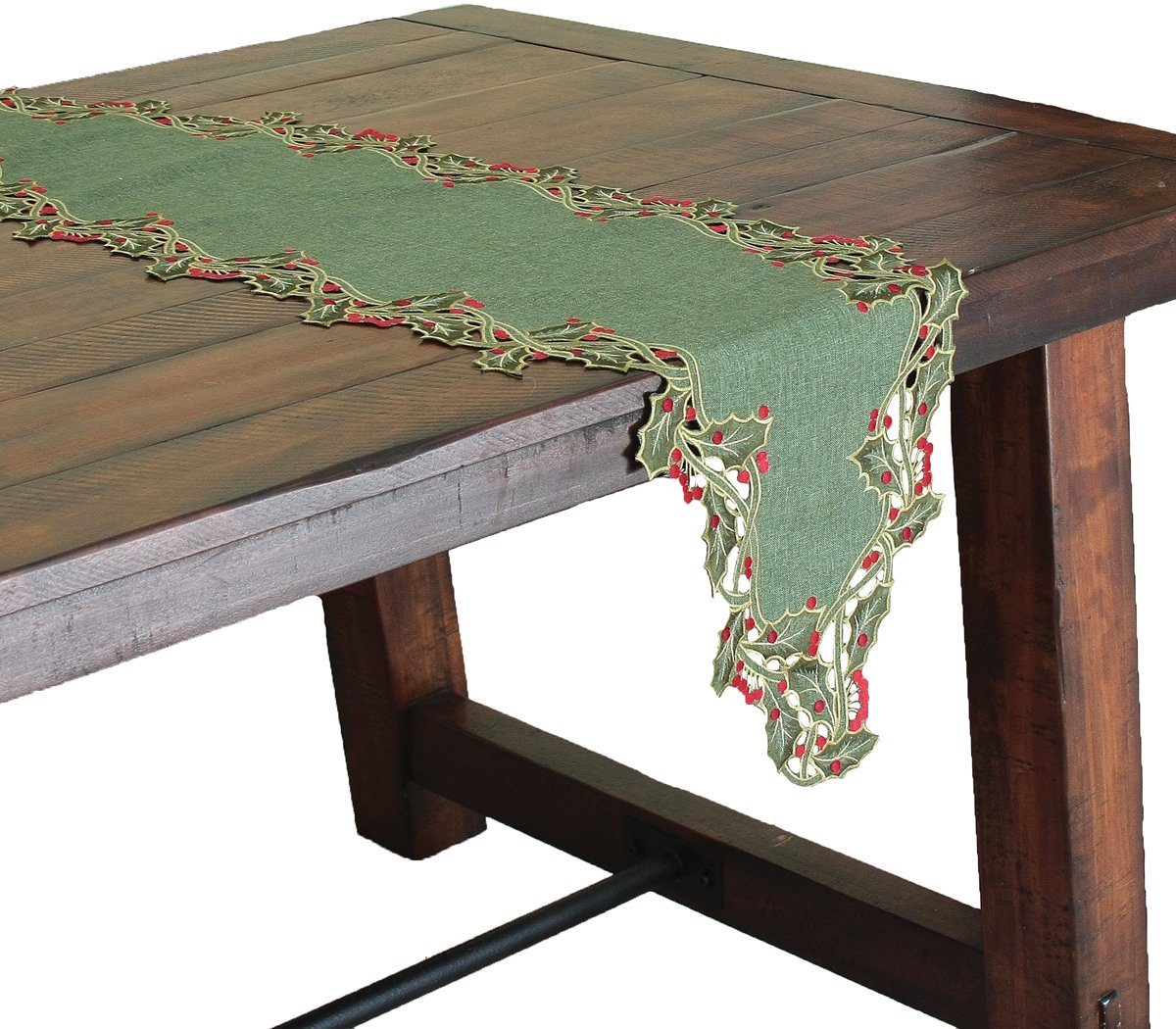 Xia Home Fashions Holiday Holly Embroidered Cutwork Christmas Table Runner, 15 by 70-Inch, Green