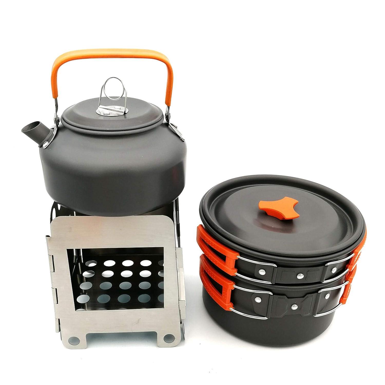Huiit Edelstahl Camping Kochgeschirr Set mit Holzofen Outdoor Picknick Kochgeschirr Kit für 2-3 Erwachsene