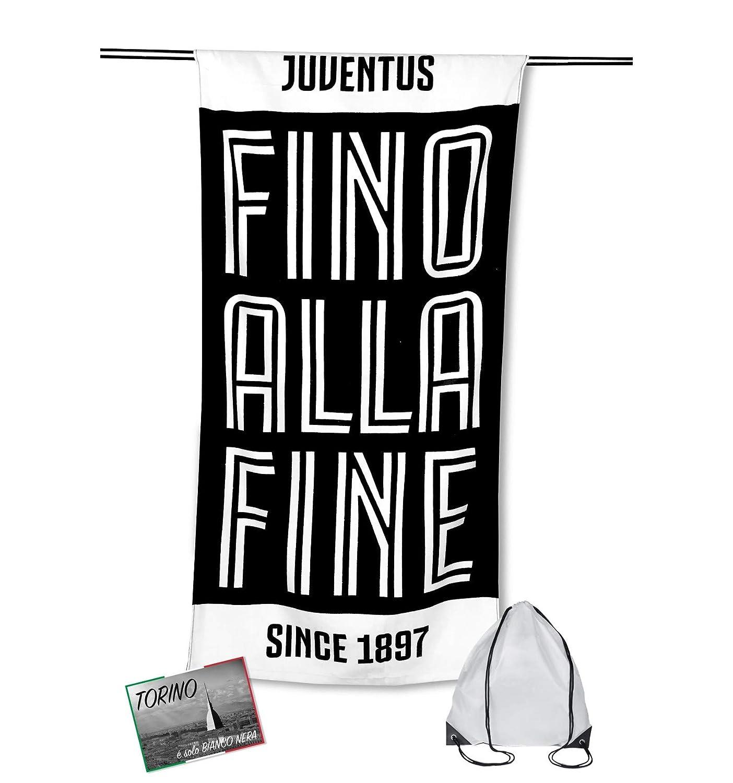 tex family Telo Mare Sport Juve Misura CM.70X140 Originale Juventus con Zaino PORTATELO e Cartolina Torino /È