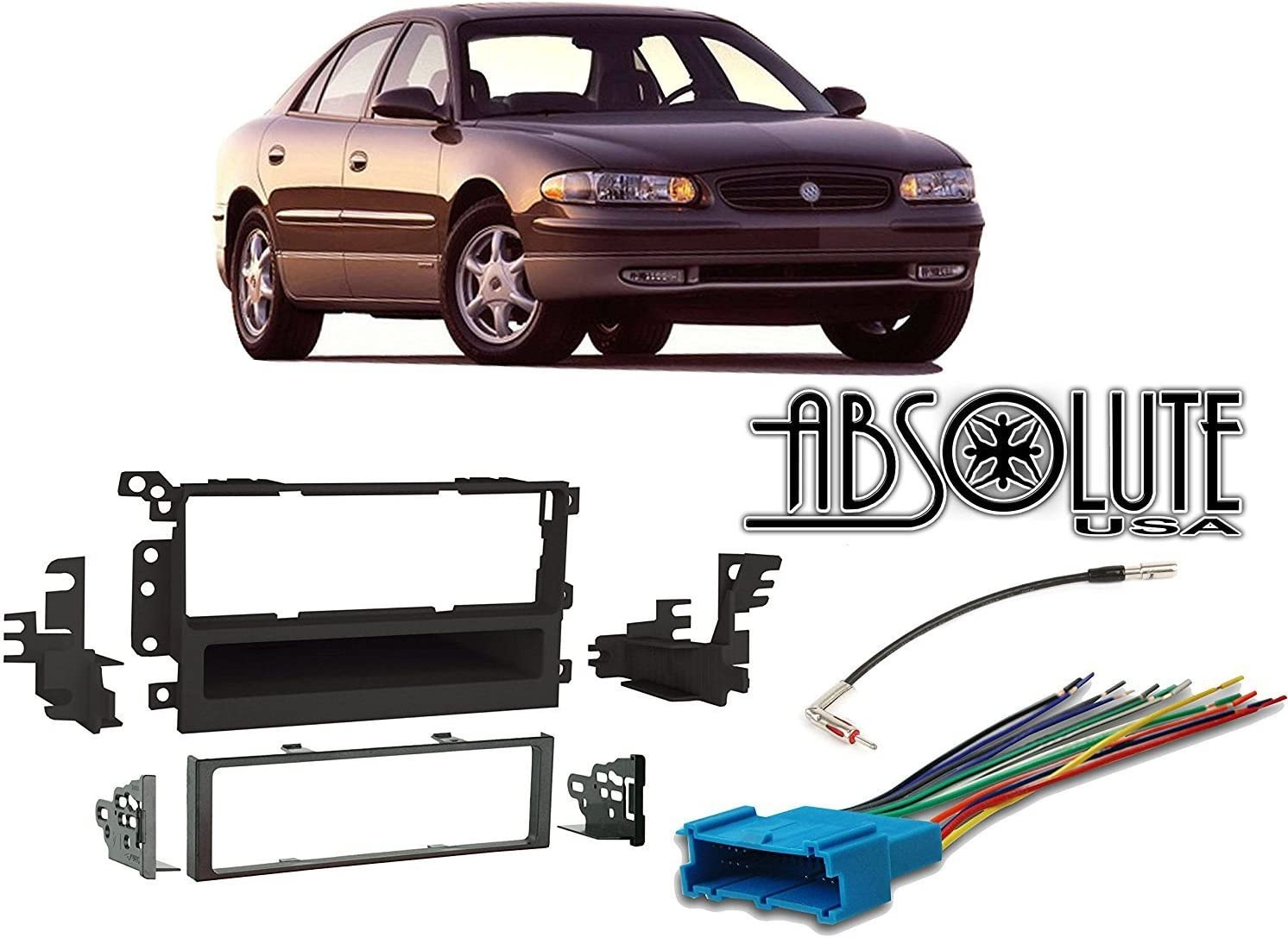 ABSOLUTE USA ABS99-2009 Fits Buick Century 1997-2003 Single DIN Stereo Harness Radio Install Dash Kit