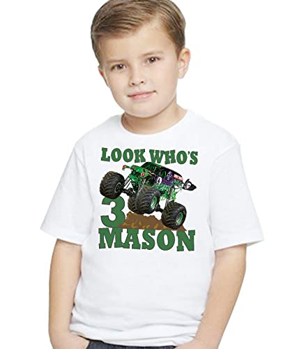 799f42134 Amazon.com: Birthday T Shirt Monster Truck Green Mud Digger Riding Tee Custom  Personalized With NAME and AGE: Handmade