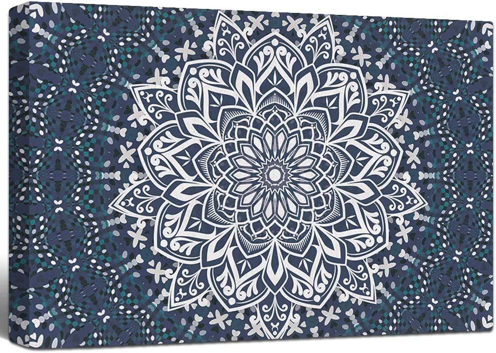 Lamplig Mandala Wall Art Blue Canvas Pictures Boho Prints Wall Decor Modern Bohemian Paintings Indian Flowers Floral Artwork for Bedroom Living Room Bathroom Home Room Wall Decor 24x16 Inch