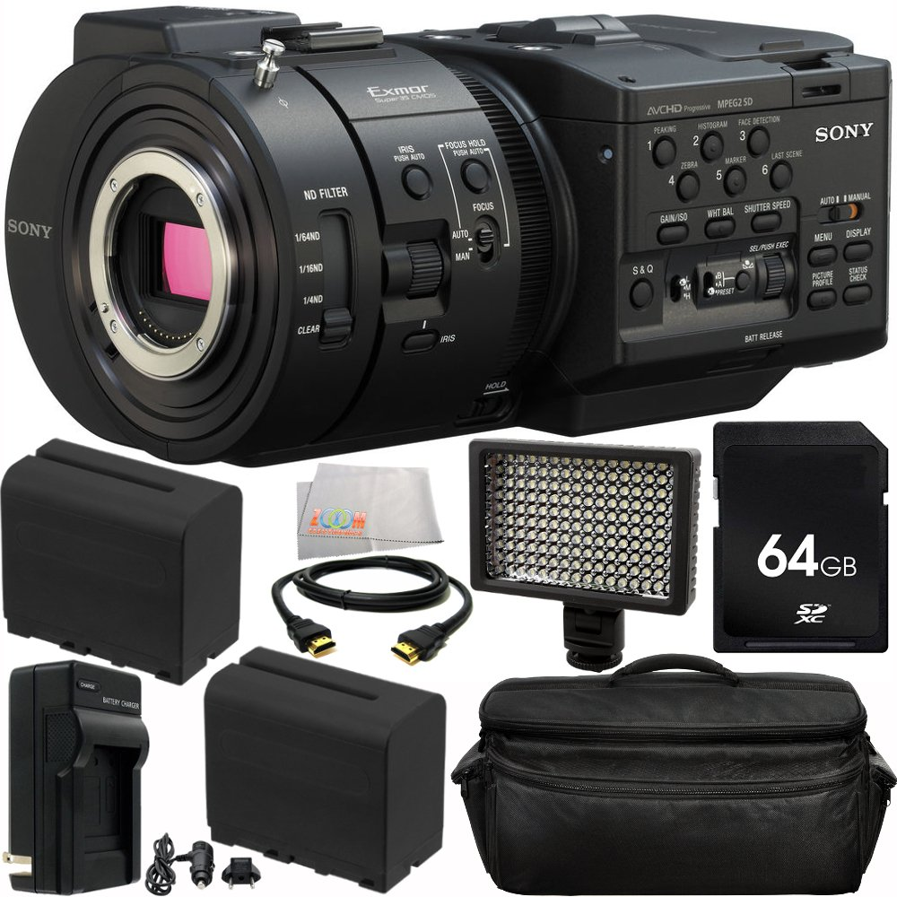 Sony NEX-FS700R Super 35 Camcorder (Body) 10PC Accessory Kit. Includes 64GB Memory Card + 2 Replacement F970 Batteries +AC/DC Rapid Home & Travel Charger + 160 LED Video Light + HDMI Cable + Deluxe Camcorder Case + Microfiber Cleaning Cloth Centre Drone