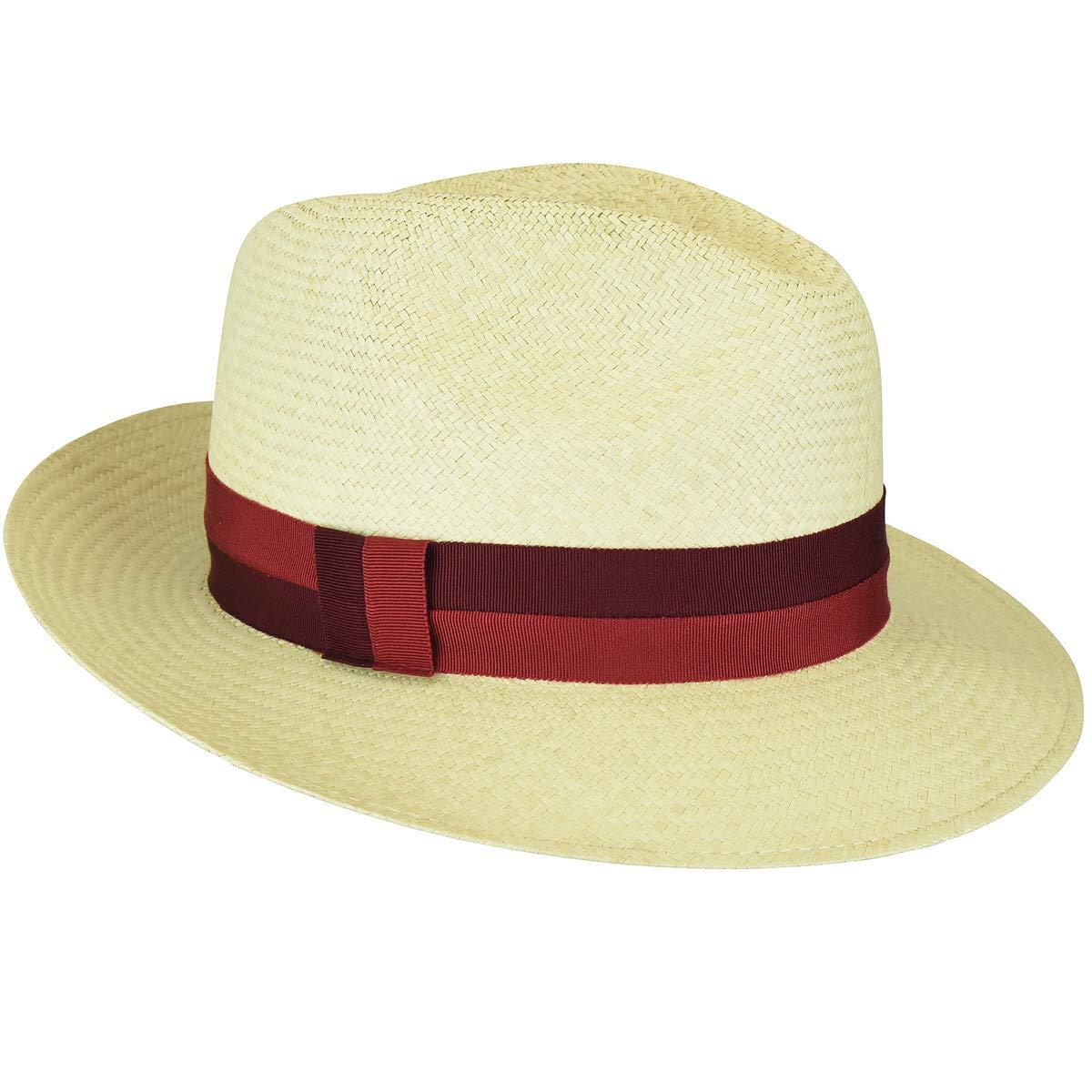 Bailey of Hollywood Men Halpern Panama Fedora Natural-Red L