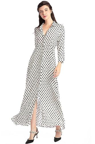 Camisa de vestir de manga larga de estilo Boho para mujer vestidos Vestido maxi de estampado floral de la vendimia vestidos de festa babero musulmán kaftan: ...