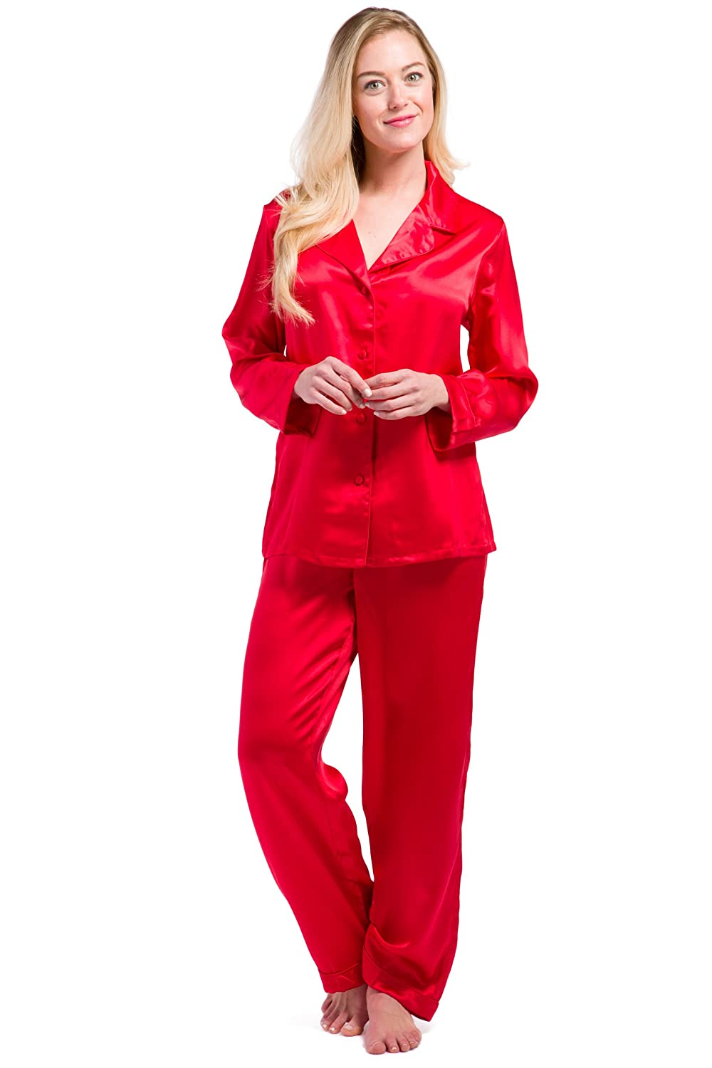 bb8611172 Two-piece silk pajama set featuring button-up top with notched collar and  full-length matching pant with elastic drawstring waist. Comes in custom gift  box ...