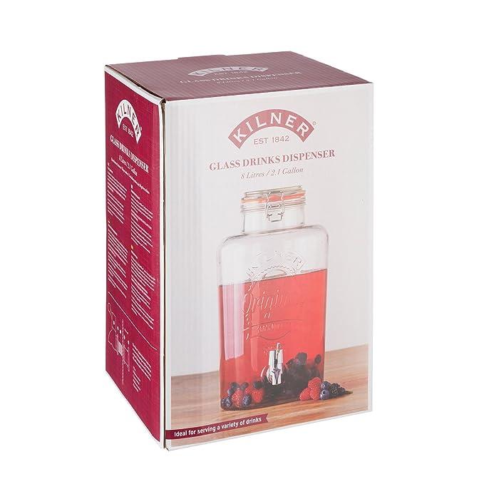 KILNER Clip Top 8 litros dispensador de Bebidas de Cristal Redondo en Caja de Regalo, Transparente: Amazon.es: Hogar