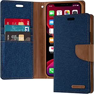 GOOSPERY Canvas Wallet for Apple iPhone 11 Pro Max Case (6.5 inches) Denim Stand Flip Cover (Blue) IP11PM-CAN-BLU