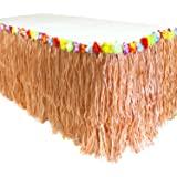 GiftExpress 9 英尺 X29 路易斯草桌裙,夏威夷路易苏木桌裙,适用于夏威夷派对,路易派对用品,路易派对装饰,Moana 生日派对 Natural Hay Grass