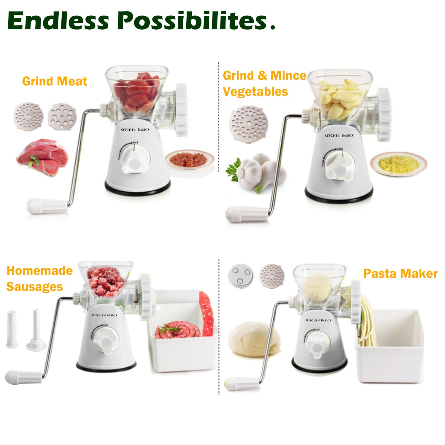 Amazon.com: Kitchen Basics 3-In-1 Meat Grinder and Vegetable ...