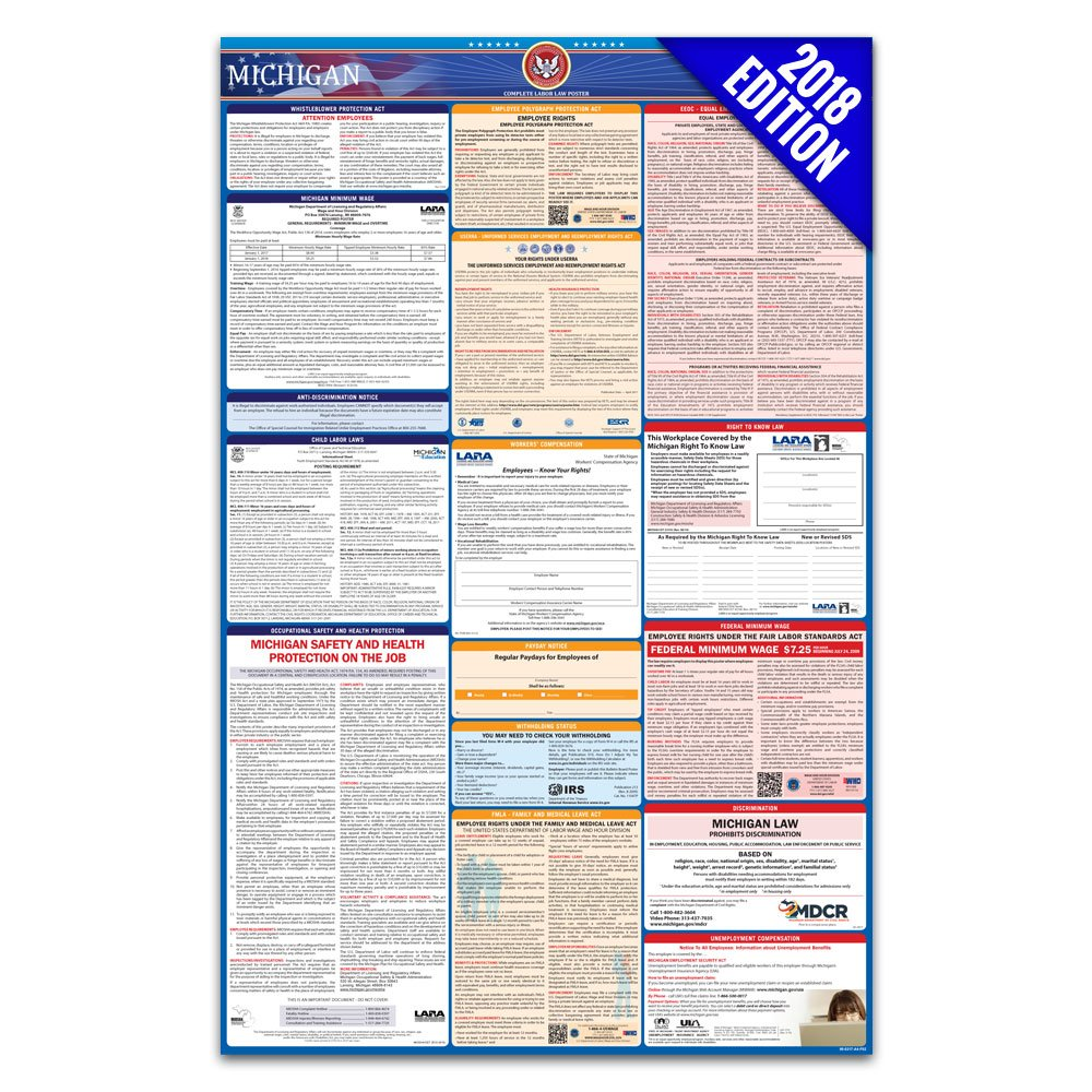 2018 Michigan Labor Law Poster – State & Federal Compliant – Laminated