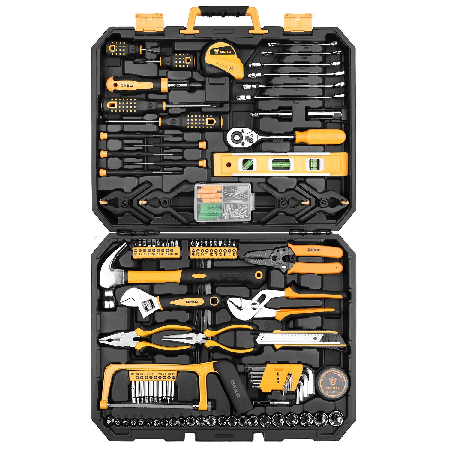 DEKOPRO 168 Piece Socket Wrench Auto Repair Tool Combination Package Mixed Tool Set Hand Tool Kit with Plastic Toolbox Storage Case by DEKOPRO
