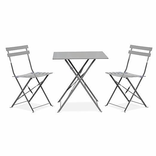 Salon de Jardin bistrot Pliable - Emilia Gris Taupe - Table carrée 70x70cm  avec Deux chaises Pliantes, Acier thermolaqué