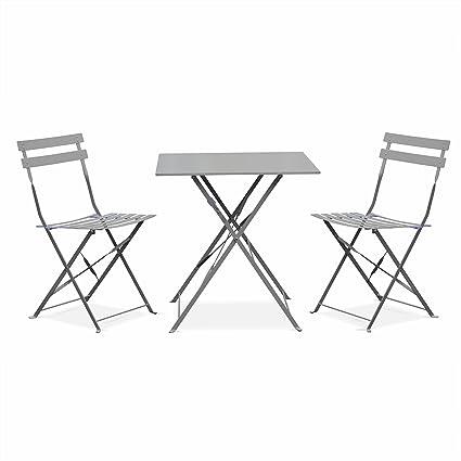 Salon de Jardin bistrot Pliable - Emilia Gris Taupe - Table carrée ...