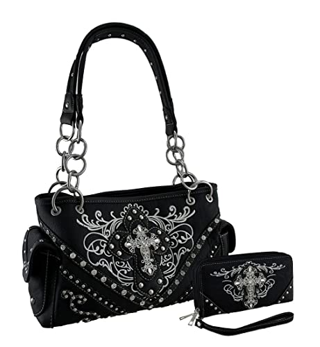 df87df1aaf Embroidered Western Concealed Carry Purse and Wallet w Rhinestone Cross  (Black)