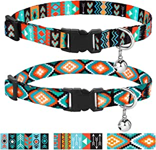 CollarDirect Cat Collar Breakaway Set of 2 PCS Tribal Pattern Aztec Pet Safety Adjustable Kitten Collar with Bell (Pattern 2 + Pattern 3)