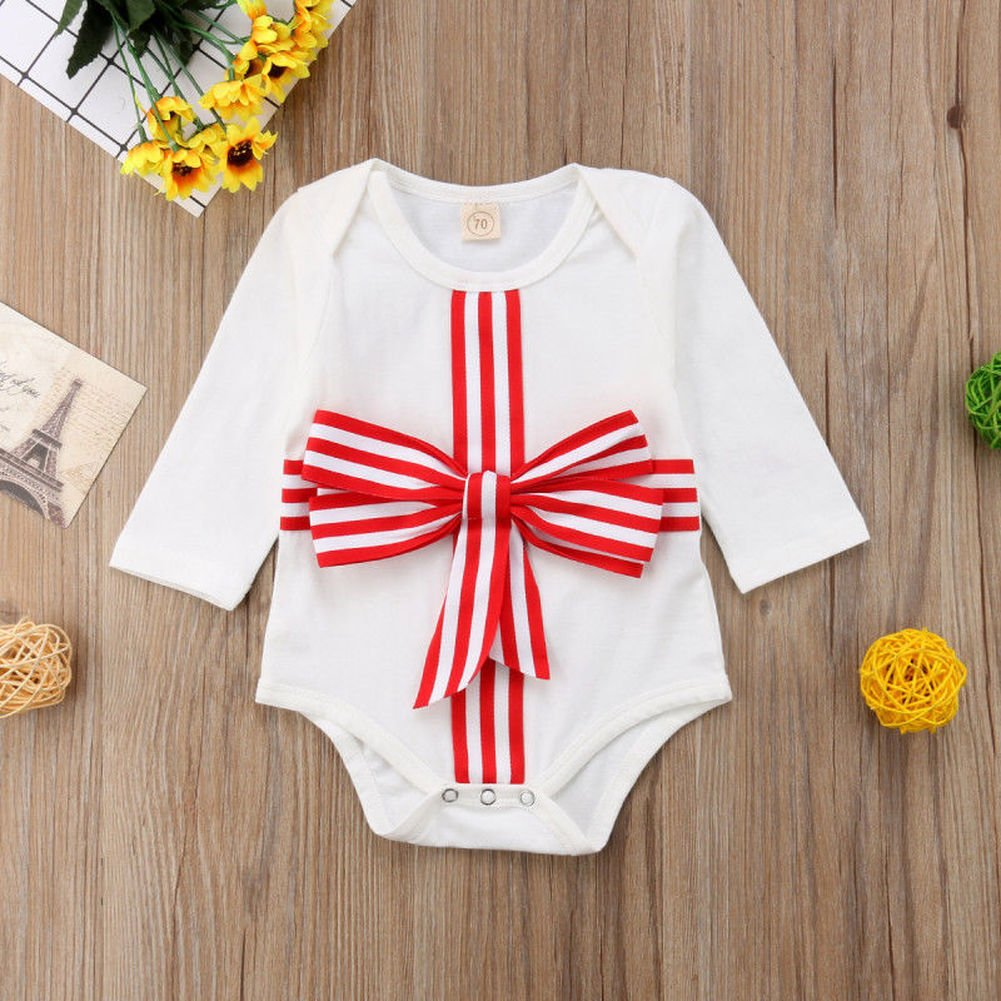Phoebe bee Newborn Toddler Baby Girl Boy Long Sleeve Bowknot Gift Romper Jumpsuit Outfit