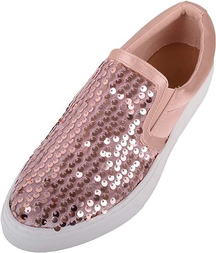 Womens Slip On Glitter/Sequin Skater