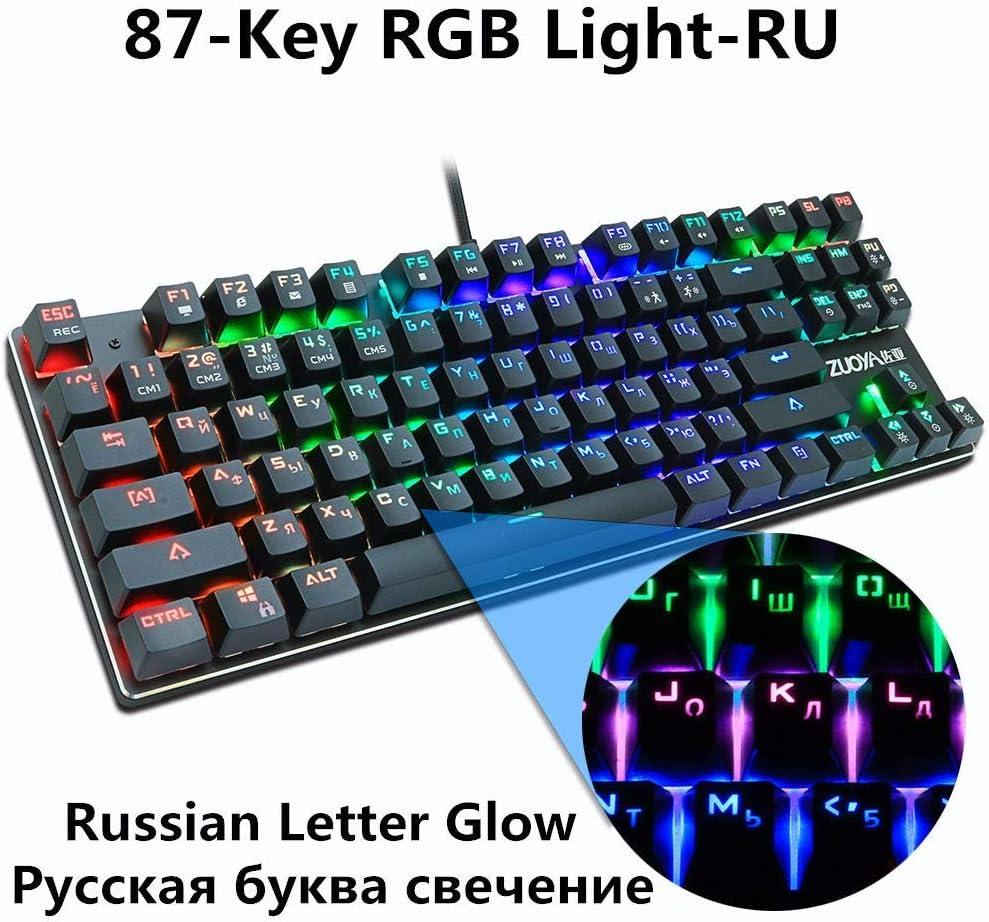 HUOGUOYIN Gaming Keyboard Games Mechanical Keyboard Switch Blue Red//Anti-ghosting U.S Wired Keyboard Hybrid Backlight LED USB PC Laptop for Gamers Keyboard