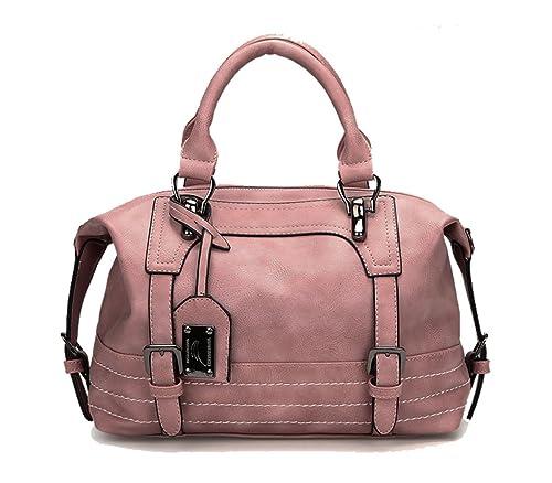 5530bee1424dd Modesty Damen Handtasche Leder Henkeltasche Elegante Umhängetasche  weibliche Schultertasche groß Designer Taschen(Rosa)