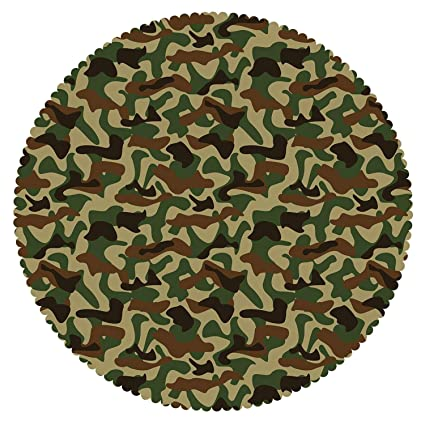 Amazon Com Iprint Multicolor Round Tablecloth Camouflage Military