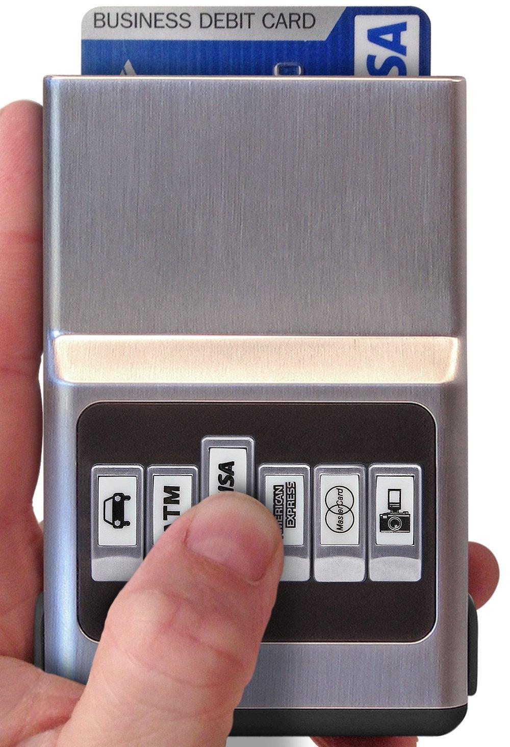 ACM Wallet Credit Card Holder - Black Hybrid Organizer & Money Clip - Easy Push Button Use, Eliminate Scratching Static & Damage for Men & Women