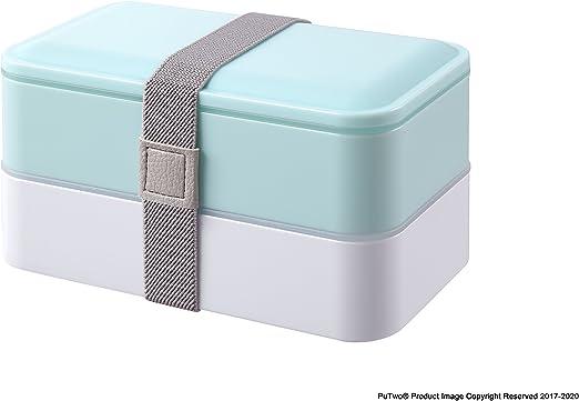 Congelador PuTwo Bento Box Fiambreras Bento Caja Bento Caja Almuerzo de 2 niveles con juego de cubiertos Box Lunch Microondas Apto para lavavajillas 1200 ml Azul Pastel