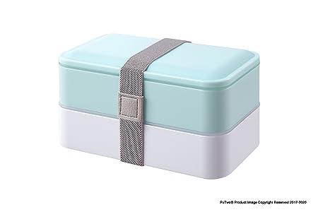 PuTwo Bento Box Fiambreras Bento Caja Bento Caja Almuerzo de 2 niveles con juego de cubiertos Box Lunch Microondas, Congelador, Apto para lavavajillas ...