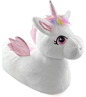 ee7452e46791e Girls Enchanting Novelty Unicorn Plush Lined 3D Slippers With Fabric ...
