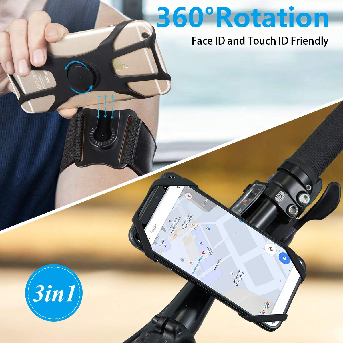 CW COOLWOW Running Armband Bike Phone Holder for iPhone X, Xs, Xs Max, Xr, 8, 7, 6 Plus, Samsung Galaxy S9, S8, S7, S6, A8, 360° Rotatable& Detachable Armband for Running, Walking, Hiking, Biking by CW COOLWOW