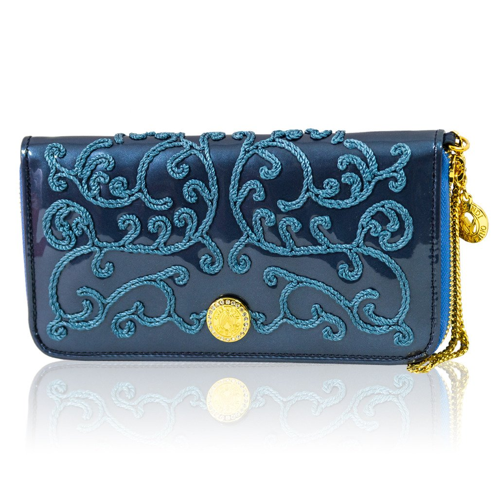 Valentino Orlandi Italian Designer Peacock Blue Embroidered Leather Ziparound Wallet
