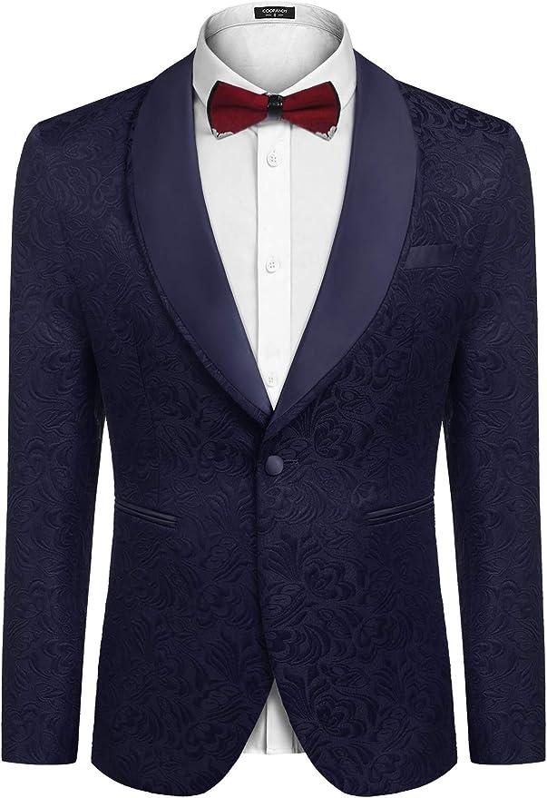 COOFANDY Men Luxury Paisley Floral Tuxedo