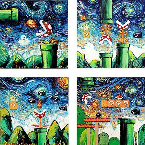 4 Print Set - Video Game Art - Retro Gaming Poster prints - Nintendo