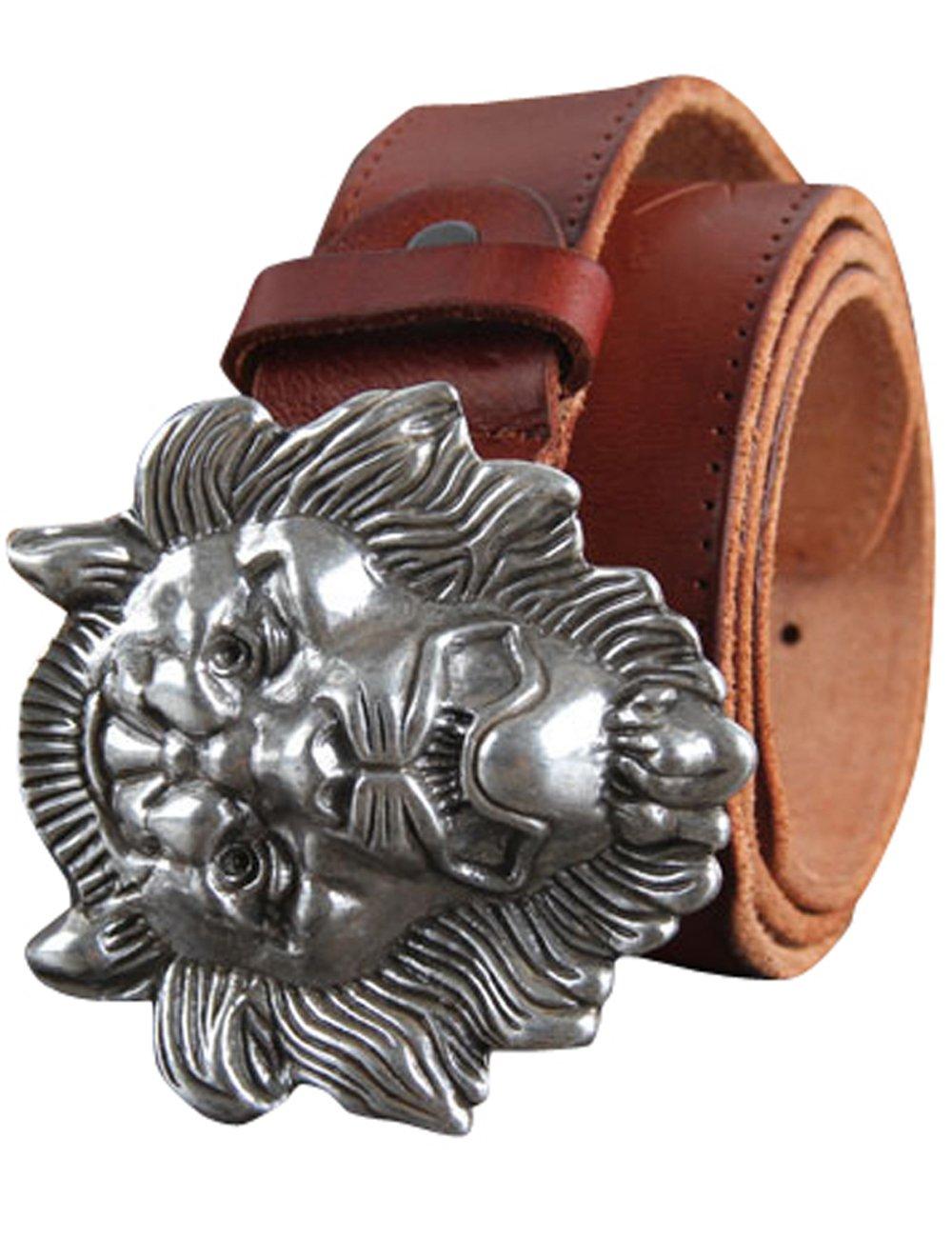 Menschwear Men's Belt Grain Leather Adjustable Belt with Copper Slide Buckle 36MM Red 120MM