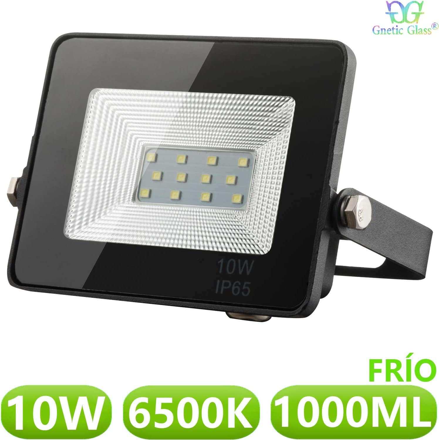 Foco LED exterior Floodlight 10W GNETIC GLASS Proyector Negro Impermeable IP65 1000LM Color Luz Blanco Frío 6500K Angulo 120º 85x115 mm 30000h Equivalente a 100W [Eficiencia energética A++] Pack x1: Amazon.es: Iluminación