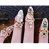 Beauty 4pcs/lots Nail Art Charms Bowknot Crown Crystal Nail Decoration Nail Finger Rings