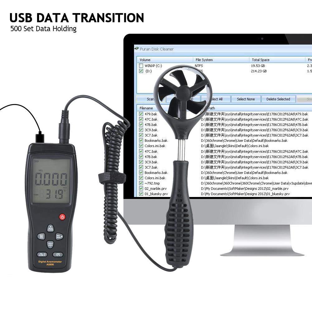 SMART SENSOR AS856 Anemómetro digital portátil 0.3-45m / s ...