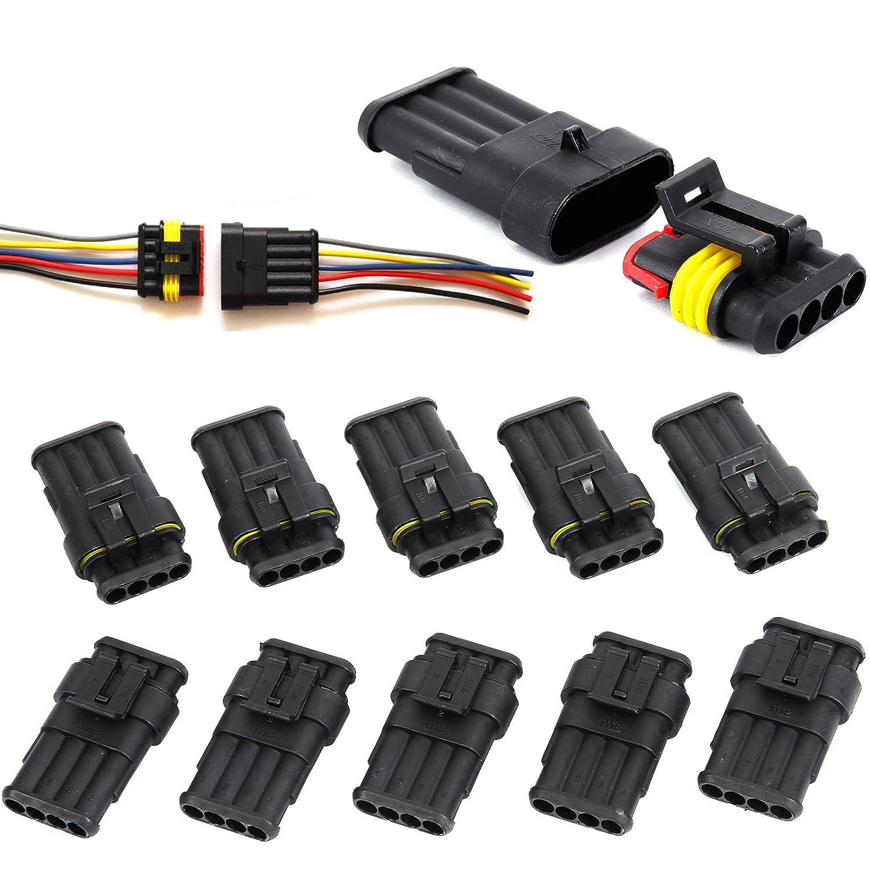 CLE DE TOUS - 10 Juegos de Conectores Sellado Estanco Impermeable para Cables Eléctricos 1.5-2.5mm² (3 PIN) Hamimelon